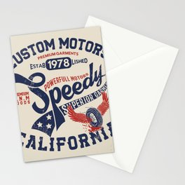 Custom motors california graphic Stationery Cards
