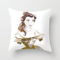 belle Throw Pillows featuring Belle by waterandinkprints