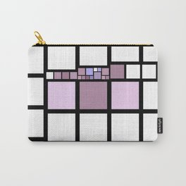 White, Pink, Violet, and Purple Blocks (squares) Lined in Black Carry-All Pouch