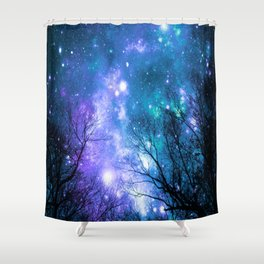 Black Trees Violet Teal Space Shower Curtain