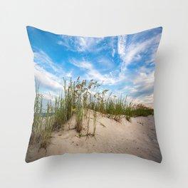 Sand Dunes and Sea Oats - Coastal Beach Scenery in South Carolina Throw Pillow