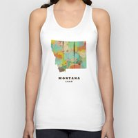 montana Tank Tops featuring Montana state map modern by bri.buckley