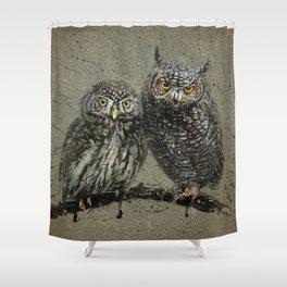 Little owl's background Shower Curtain