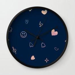 hand drawn cute scrible emoji icons in gradient watercolor base Wall Clock