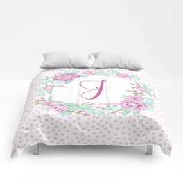 Monogram J - cute girls purple florals flower wreath, lilac florals, baby girl, baby blanket Comforters