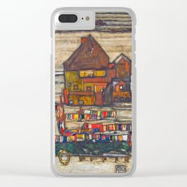 Egon Schiele - Houses with laundry (Suburb II) 1914 Clear iPhone Case