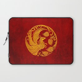Traditional Yellow and Red Chinese Phoenix Circle Laptop Sleeve