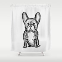 frenchie Shower Curtains featuring Frenchie by Quirky Things