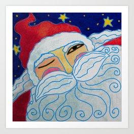 Funky Santa Claus Portrait Abstract Digital Painting  Art Print