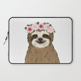 Floral Crown Sloth Laptop Sleeve