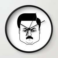 ron swanson Wall Clocks featuring Ron Swanson by Jude Landry