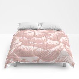 Rose Gold Dahlia Flower Comforters