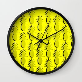 Pineapple Lines - true yellow Wall Clock