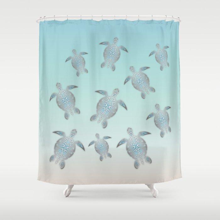 Silver Sea Turtles Shower Curtain