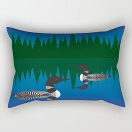 Loons in a Woodland Lake Rectangular Pillow