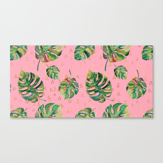 Monstera Gold // Monstera Pattern, Gold Foil Pattern, Lifestyle Digital Collage Pink Canvas Print