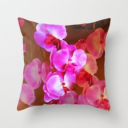 Pink Orchid Visual Delight Throw Pillow