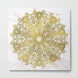 Golden Mandala on Pink Marble Metal Print