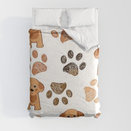 Cute, Lovely and Adorable Puppy and Paws Art Print Comforters