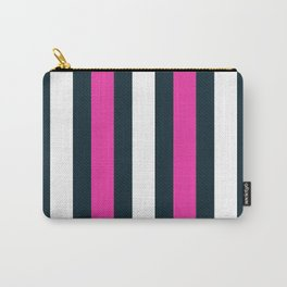 Modern Decorative Pink White Vertical Pattern Stripes Carry-All Pouch