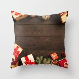 Christmas Photography - Presents And Christmas Decoration Throw Pillow