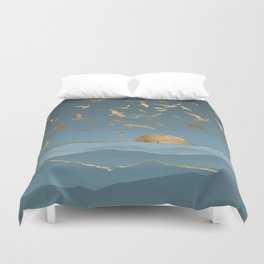 Blueprint and Gold Sea Scape Duvet Cover