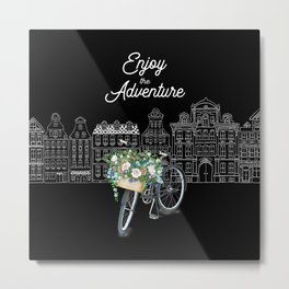 Enjoy the Adventure City and Bicycle on Black Background Metal Print