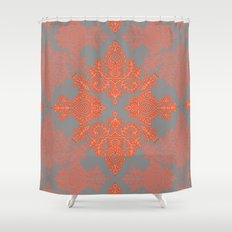 Burnt Orange, Coral & Grey doodle pattern Shower Curtain