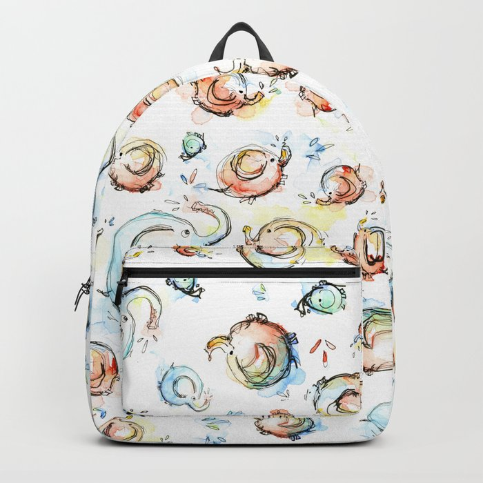 Elephants Pattern Watercolor Whimsical Animals Backpack