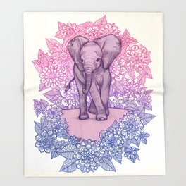 Cute Baby Elephant in pink, purple & blue Throw Blanket