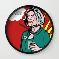 lichtenstein Wall Clocks featuring Malory Archer Lichtenstein by turantuluy