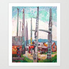 Emily Carr - Totem Poles, Kitseukla - Canada, Canadian Oil Painting - Group of Seven Art Print