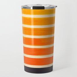 Orange & Black Geometric Pattern Travel Mug