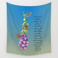 christ Wall Tapestries featuring Colossians 3:16 Let the Word of Christ Dwell in you Richly Foxgloves Butterflies Watercolor by Alison Langridge