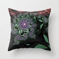 novelty Throw Pillows featuring Lilac Fractal Garden by Moody Muse