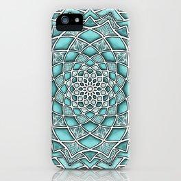 12-Fold Mandala Flower in Turquoise iPhone Case