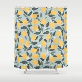 Blue Lemon Theme Shower Curtain