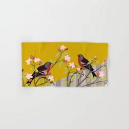 chaffinches in the cherry tree Hand & Bath Towel