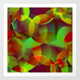 Vector abstract seamless background from space yellow and green bright circles and bubbles for fabri Art Print