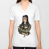 grimes V-neck T-shirts featuring Grimes by Jamie Luna