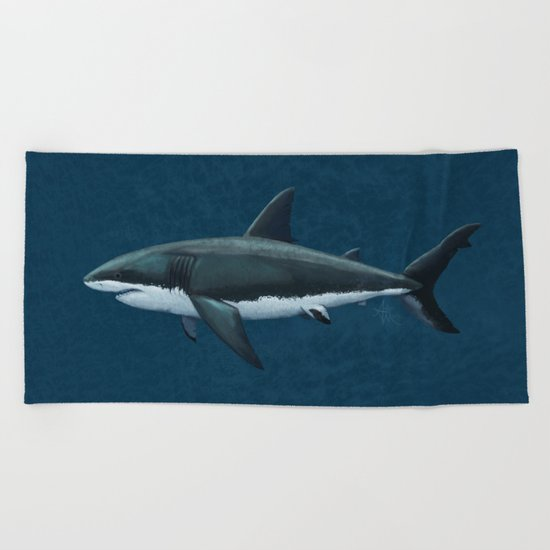 """Carcharodon carcharias"" by Amber Marine  ~ Great White Shark Art, (c) 2015 Beach Towel"
