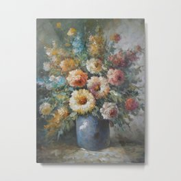Flowers in a Blue Vase Metal Print