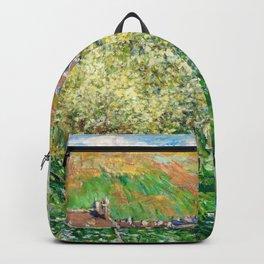 Claude Monet - Flowering Plum Trees - Claude Monet Backpack