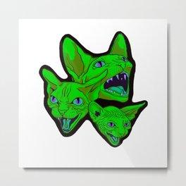 Green cat scream Metal Print