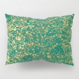 Ultramarine Green and Gold Patina Design Pillow Sham