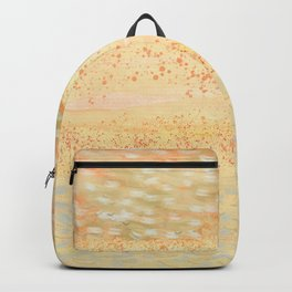 Abstract golden sunrise. Yellow sunny morning. Backpack