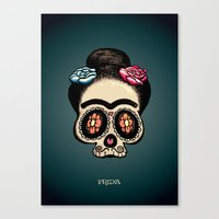frida Canvas Prints featuring Frida by mangulica illustrations