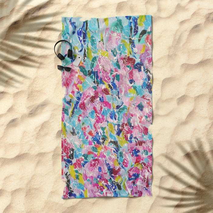 Abstract floral painting 2 Beach Towel