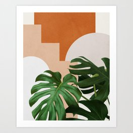 Abstract shapes art, Tropical leaves, Plant, Mid century modern art Art Print