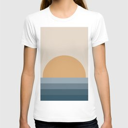 Minimal Retro Sunset / Sunrise - Ocean Blue T-shirt